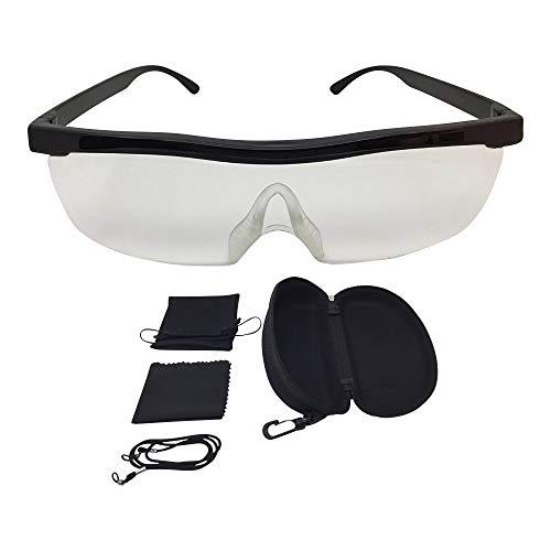 Vergrößerungsbrille Lupenbrille Zauberbrille Lupe auf der Nase optische Vergrößerung auf 200% inkl. Hardcase und Zubehör (Schwarz)