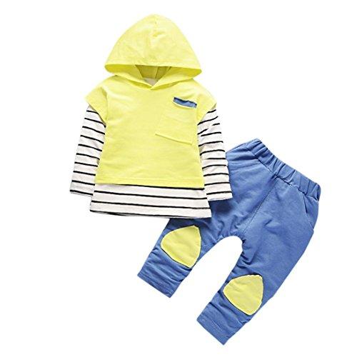 Kolylong® Kleidung mädchen 1 Set (6-24 Monate) Baby Mädchen Streifen drucken Anzug (Tops + Hosen) Herbst Suit Outfits Mit Kapuze Babykleidung (90CM(12-18 Monate), Gelb)