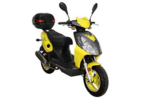 Roller Firejet 50 One Mokick gelb + Topcase 1,8 KW / 2,4 PS / Luftgekühlt / Alufelgen / Gepäckträger / Scheibenbremse / Teleskopgabel Hydraulisch / ab 16 Jahren