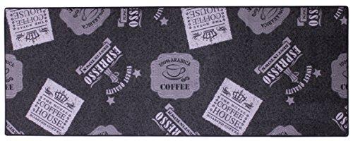Bavaria Home Style Collection Tapis de cuisine/tapis de cuisine/tapis décoratif pour cuisine et bar / tapis / couloir / tapis de cuisine / décoration de cuisine modèle env. 67 x 180 cm – Noir – Anthracite – Avec café – Espresso