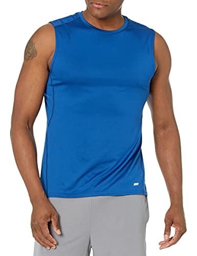Amazon Essentials Men's Tech Stretch Performance Muscle Shirt, True Blue, X-Small