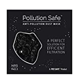 Pollution Safe Reusable PM 2.5, N95, 4 Layered Filtration Anti Pollution and Anti Dust Mask for Men and Women (Black) Pack of 1