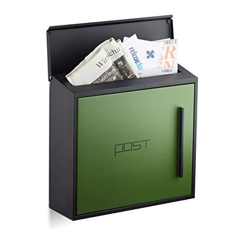 Relaxdays Briefkasten grün modern Zweifarben Design, DIN-A4 Einwurf, Stahl, groß, HxBxT: 33 x 35 x 12,5 cm, schwarz-grün