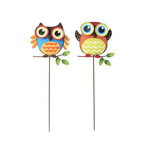 YK Decor Metal Owl Garden Stake Outdoor Yard Lawn Ornaments Plant Pot Flower Bed Decor Christmas Decorations 15.75' H(Owl)