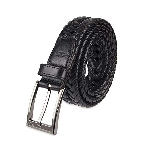 Dockers Men's Leather Braided Casual and Dress Belt,Black,42