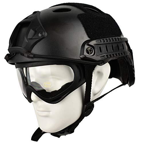 QHIU Taktischer Helm PJ Typ Leichter Schutzhelm für Airsoft Paintball CS Game Outdoor Sport mit Brille, BK-2