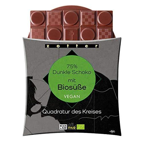 Zotter Bio 75% Dunkle Schokolade mit Biosüße (Erythrit) Quadratur des Kreises Vegan 70g