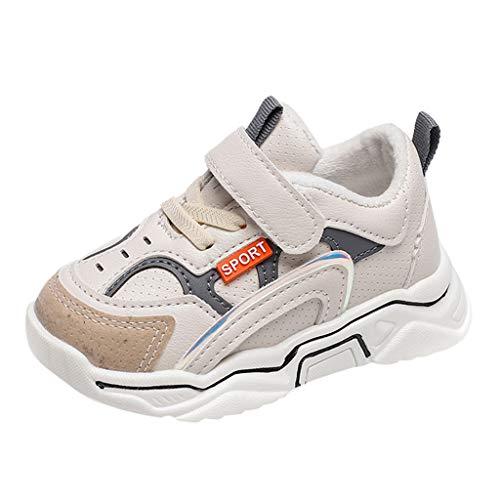 HDUFGJ Turnschuhe Jungen Mädchen Sportschuhe Kinder Warm Atmungsaktiv Sneaker Hallenschuhe Laufschuhe Outdoor Schuhe 28 EU(Weiß)