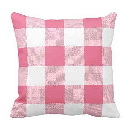 Throw - Funda de almohada rústica rosa y blanca de búfalo a cuadros decorativos, funda de almohada cuadrada, 48 x 48 cm