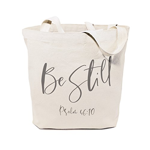 The Cotton & Canvas Co. Be Still, Psalm 46:10 Beach, Shopping and Travel Resusable Shoulder Tote and Religious Bible Verse Handbag