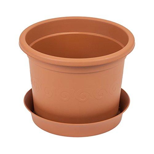 Vaso per piante PLASTICA con sottovaso, capacit? 12 Lt colore: terracotta