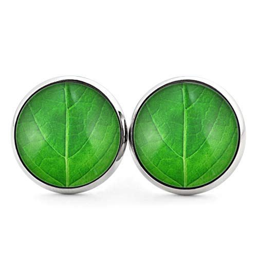 SCHMUCKZUCKER Damen Ohrstecker mit Motiv Leaf Blattmuster Edelstahl Ohrringe Silber Grün 14mm