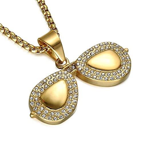 Collares Mujer Baratos,Hip Hop Bling Gold Colorful Gafas de sol Collar Iced Out Pave Collar de cristal de acero inoxidable para hombres Joyería de moda