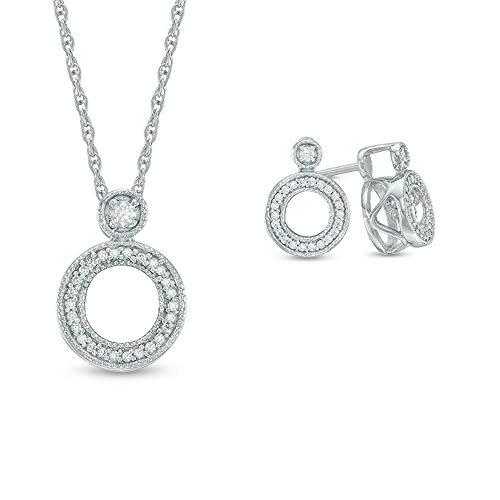 Ani's T.W. Juego de pendientes y colgante de diamante blanco Sim de corte redondo en plata de ley 925