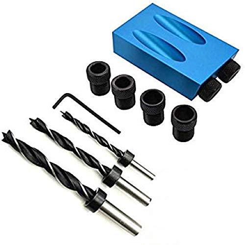 VOANZO 14 STKS Set Pocket Gat Boor Gids, 15 Graden Pocket Gat Boren Kit Houtbewerking Oblique Boor Gids Set Positioner Locator Tool