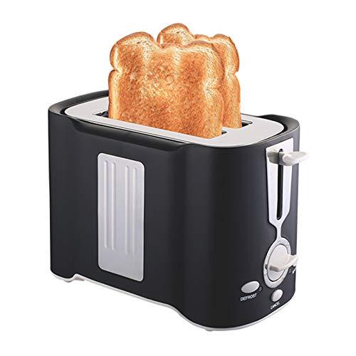 CHQY 2 tostadora de rebanadas, Acero Inoxidable Amplio de la tostadora, con función de recalentamiento/cancelación/descongelación de Paneles, Bandeja de miga extraíbl Black