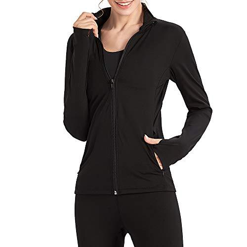 Lixada Laufjacke Damen Sportjacke Trainingsjacke voll Reißverschluss Trainingsanzug mit Daumenloch und Seitentasche für Yoga Fitness