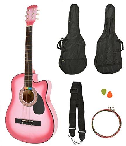 Akoestische gitaar voor westerns, roze Sunburst, gitaartas + riem + reservesnaren, kleur roze