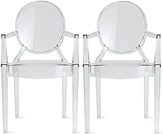 2xhome - Set of 2 - Louis Ghost Chair Clear - Side Chair with Arms