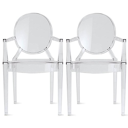 2xhome Set of 2 Clear Louis Ghost Dining Armchairs Polycarbonate Designer Acrylic Transparent Crystal Chair with Arms Glass Modern Mid Century Victorian See Through for Desk Kitchen
