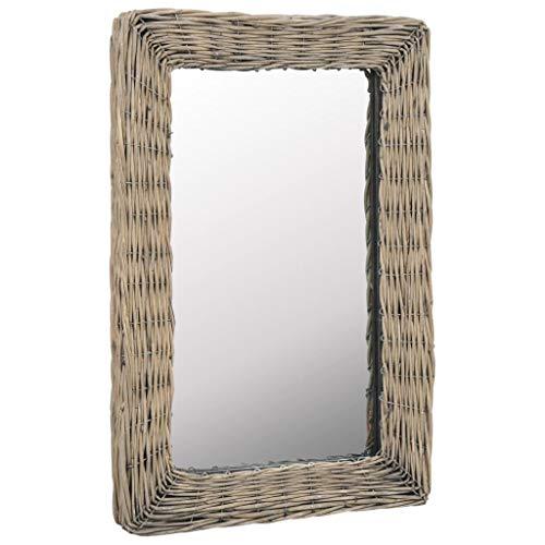 Nishore Espejo de Pared Espejo Mimbre para Pasillo y Naño Marrón 40 x 60 cm (Fácil de Montar)