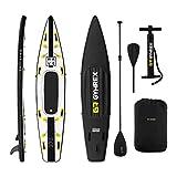 Gymrex Tabla Hinchable para Stand Up Paddle Sup GR-SPB375 (Drop Stitch - PVC, Alfombrilla EVA, hasta 120 kg, Negro/Amarillo)