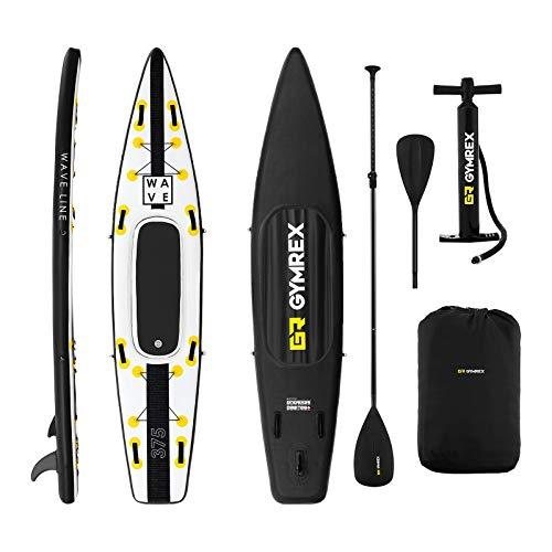Gymrex GR-SPB375 SUP Stand Up Paddle Board aufblasbar Paddel-Board 120 kg schwarz/gelb mit Paddel, Sitz und Zubehör