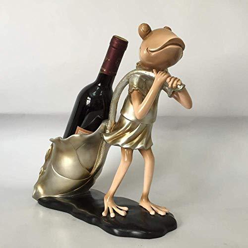 SUNTAOWAN Bastidores de Vino de Resina Adornos de decoración de los Artes Rana Europea