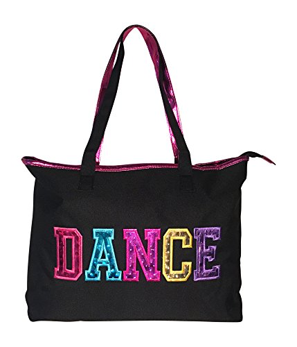Dance Tote Bag With Multicolored Dance Print (Black)