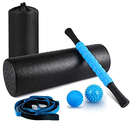 "KeShi Foam Roller Set, 18"" Muscle Foam Roller, 17"" Massage Roller Stick, Spiky Massage Ball,..."