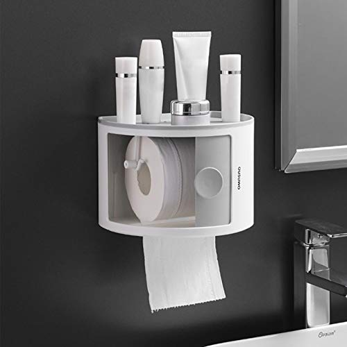 Purelemon Paper Towel Holder Wall Mounted for Kitchen 8 Inch, Bathroom Tissue Roll Hanger with Mobile Phone Storage Shelf, Wall Mount Self Adhesive, Gray