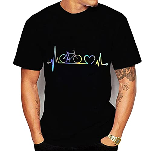 Camiseta Hombre Moderna Tendencia Moda Creativo Estampado Hombre Casuales Camisa Básico Regular Fit Cuello Redondo Hombre Manga Corta Aire Libre Casual Escalada Hombre Shirt T25290 XS