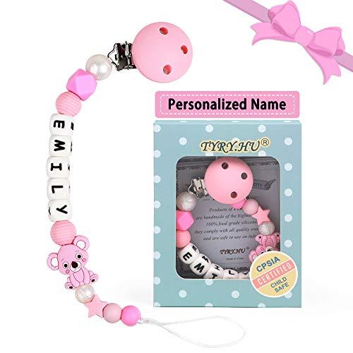 Clip Ciuccio con Nome Personalizzata Procione Massaggiagengive Porta ciuccio BPA Gratuito Baby Shower Regali (Rosa)
