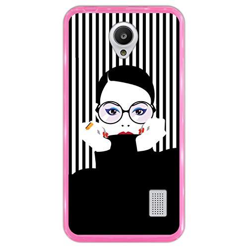 Funda Rosa para [ Huawei Y635 ] diseño [ Moda Mujer en Estilo Pop Art ] Carcasa Silicona Flexible TPU