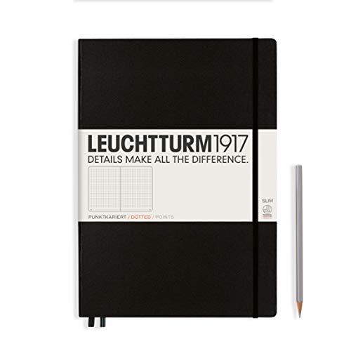 Leuchtturm1917 Master Slim - Cuaderno fino (A4, de puntos), diseño de lunares, 121 paginas, Negro (Black)