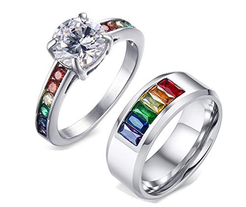NJ Gay Couple Wedding Ring - Stainless Steel CZ Crystal Marriage Anniversary Promise Couples Band Ring Rainbow Pride Gay Lesbian LGBT Jewelry for Him and Him,Her and Her