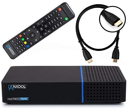 Anadol Multibox Twin 4K UHD E2 Linux Twin Sat-Receiver mit PVR Aufnahmefunktion, DVB-S2 Tuner, HDTV, 2160p, H.265, HDR [vorprogrammiert für Astra & Hotbird] + HDMI Kabel