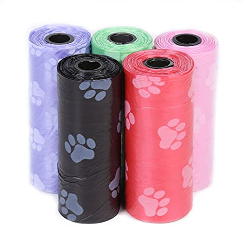 Poop Bag para Perro Bolsas Caca Perro Bolsas de Caca Bolsa Excremento Cinco Colores Bolsas para Perros Bolsas de Basura para Excrementos de Perros para Extra Gruesas a Prueba de Fugas 10 Piezas 🔥