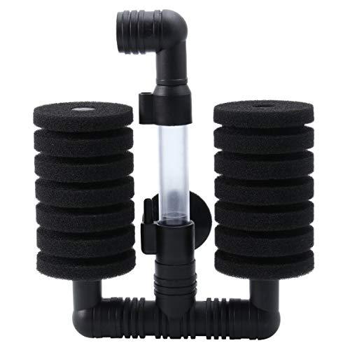 UEETEK Bomba de aire Bomba de filtro de doble esponja Bomba de agua de acuario Filtro bioquímico de esponja (Negro)