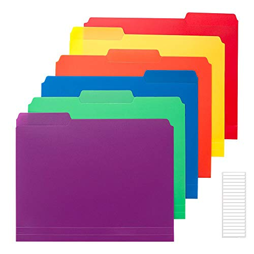 Sooez 6 Pack Colored Plastic File Folders with Sticky Labels, Heavy Duty Letter Size File Folder with Erasable 1/3-Cut Tab, Stronger Than Manila File Folder, Perfect for Organization, Assorted Color