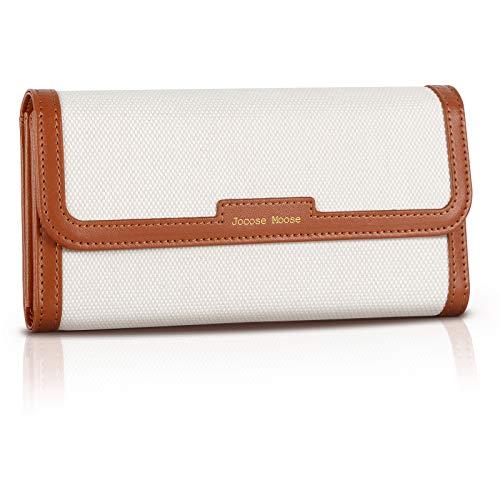 Geldbörse Damen Vintage Leder, Jocose Moose Portemonnaie Damen Geldbeutel RFID-Blocker Segeltuch portmonee (2021 Neu)