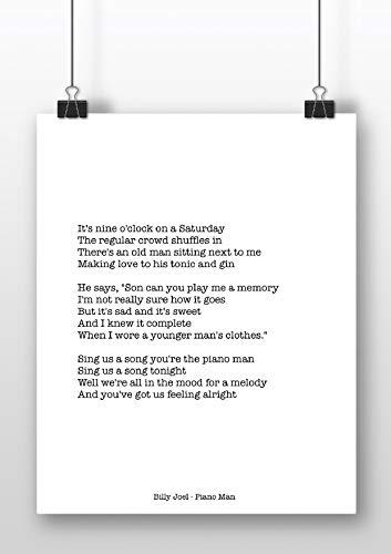 Billy Joel - Piano Man - Typewriter Style Art Print - A4 formaat