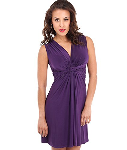 KRISP Abito Donna Elegante Scollo V Fashion Moderno Taglie Forti Sexy Cocktail Curvy Plissettato Corto Casual, Viola (9354), 40 EU (08 UK), 9354-PUR-08