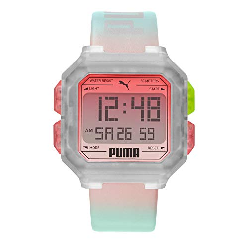 PUMA Quartz Watch with Leather Strap, Silver, 22 (Model: P5037)