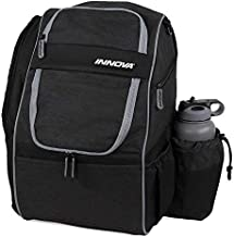 Innova Excursion Disc Golf Backpack Bag, Holds 25 Discs, Spacious Side Pocket, Rain Cover Included Black
