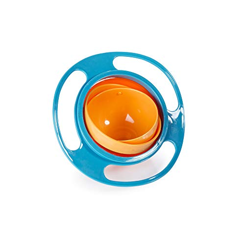 Price comparison product image Baby Gyro Bowl Funny 360 Degree Rotate Spill-Proof Bowl with Lid Feeding Without Mess Toy for Toddler Baby Kids Children, Color Blue