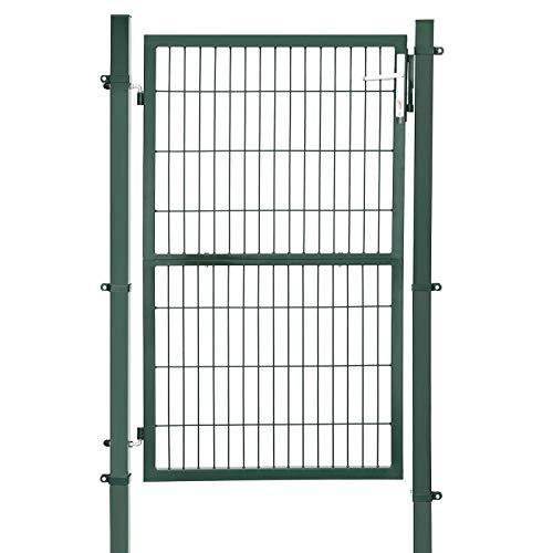 SONGMICS GGD200L GGD200L-Puerta para jardín (Acero galvanizado, Resistente y Duradera, con Cerradura y Llave, tamaño de la Puerta: 150 x 106 cm), Color Verde