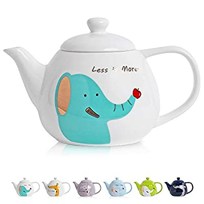 ThaiGEX Teapot, Porcelain Tea Pot with Stainless Steel Infuser, Blooming and Loose Leaf Ceramic Teapot (30 OZ / 900 ML), White Elephant