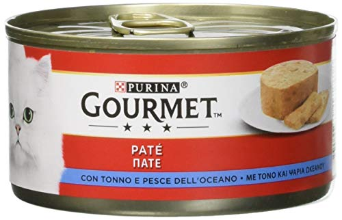 Gourmet Purina Rosso Umido Gatto Patè con Tonno e Pesce dell'Oceano, 195 g - 24 Lattine da 195 g (Confezione da 24 x 195 g)