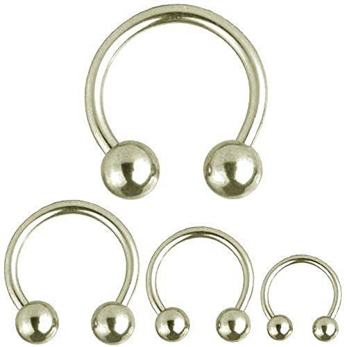 Barbell Circular de Herradura Piercing, joyería del cuerpo, Grueso de 6,0 mm | De diámetro 12 - 22 mm